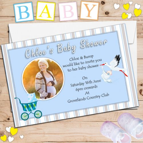 10 Personalised Blue Boy Baby Shower PHOTO Party Invitations N6